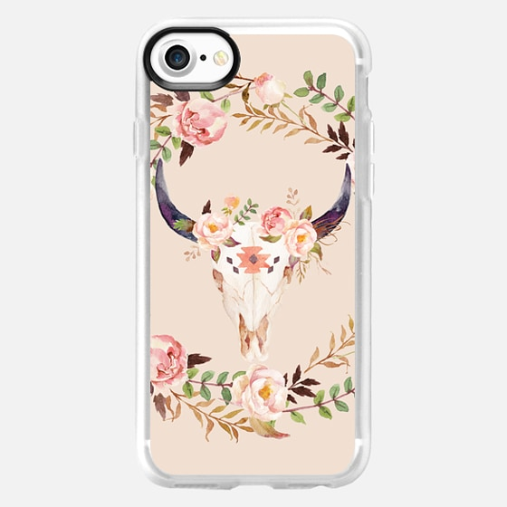 Watercolour Floral Bull Skull -