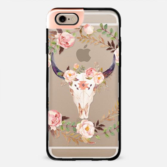 Watercolour Floral Bull Skull - Transparent -