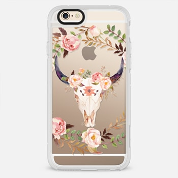 iPhone 6 Case Watercolour Floral Bull Skull - Transparent