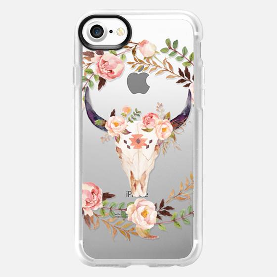 Watercolour Floral Bull Skull - Transparent - Snap Case