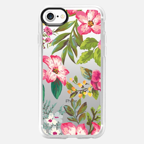 Pink Tropical Florals - Transparent - Wallet Case