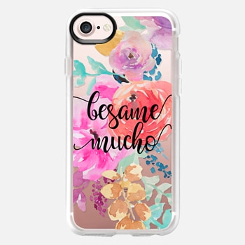 iPhone 7 Case Besame Mucho - Bright Watercolor Floral 2