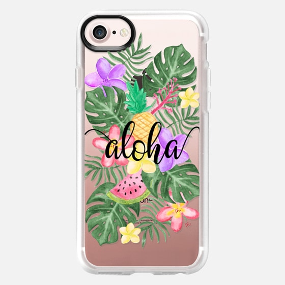 Tropical Watercolor Floral Leaves Aloha - Wallet Case