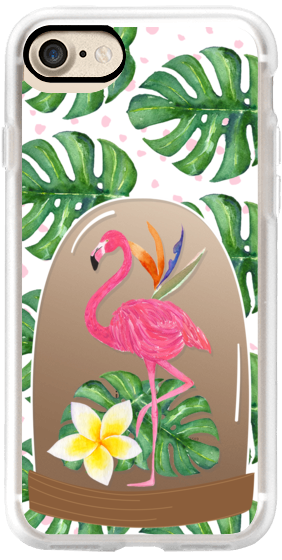 Watercolor Flamingo Tropical Snowglobe