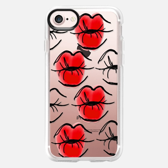 Kissing Lips - Red Lipstick - Red Lips - Watercolor - Classic Grip Case
