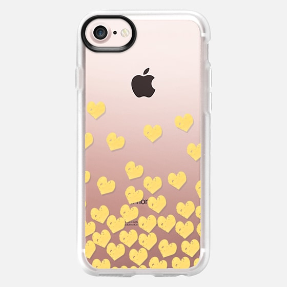 Gold Foil cell phone case transparent hearts dropping falling cascade of love - Wallet Case