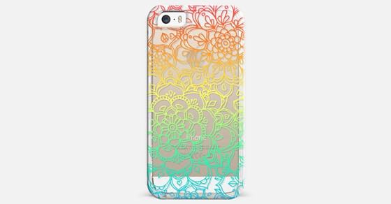 Rainbow Transparent Floral Doodle iPhone 5s Case by