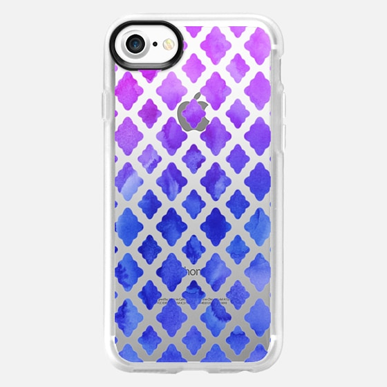 Blue & Purple Ombré Watercolor Diamond Pattern -