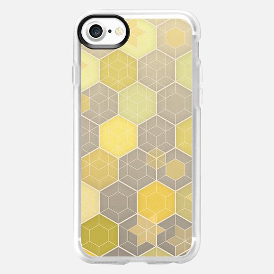 Lemon Yellow & Grey Honeycomb Hexagon Pattern -
