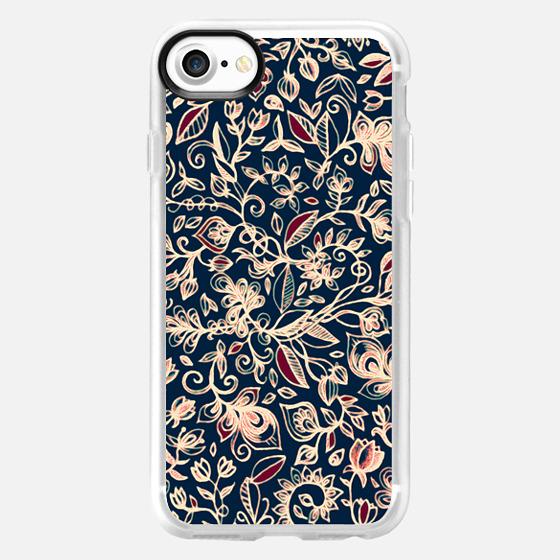 Midnight Garden - navy blue, maroon & cream floral doodle pattern -