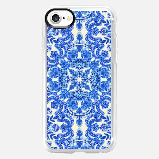 Cobalt Blue & China White Folk Art Pattern - Wallet Case