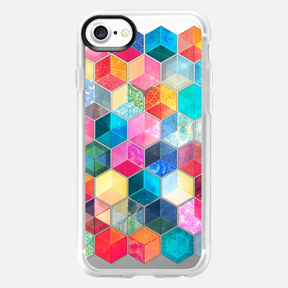 Crystal Bohemian Honeycomb Cubes - transparent - Wallet Case