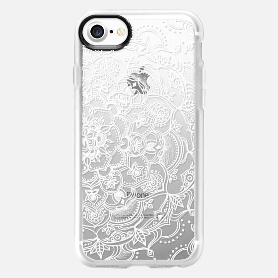 Fancy White Lace Mandala on crystal transparent - Wallet Case