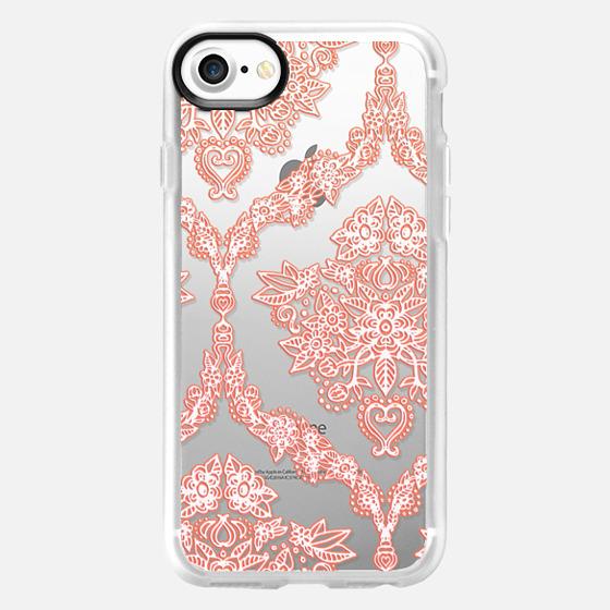 Transparent Coral Lace Pattern - Wallet Case