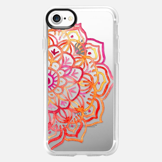 Watercolor Medallion in Sunset Colors on Transparent - Wallet Case