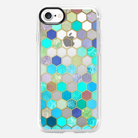 Turquoise & Purple Honeycomb Pattern - transparent - Wallet Case