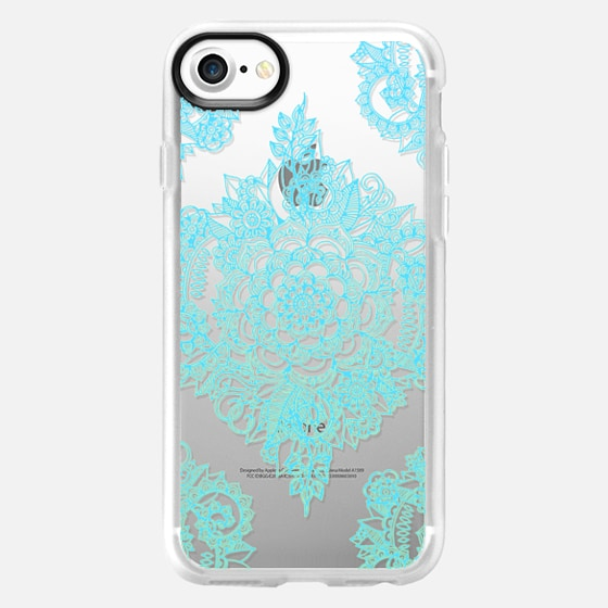 Pretty Turquoise Floral Pattern on Crystal Transparent - Wallet Case