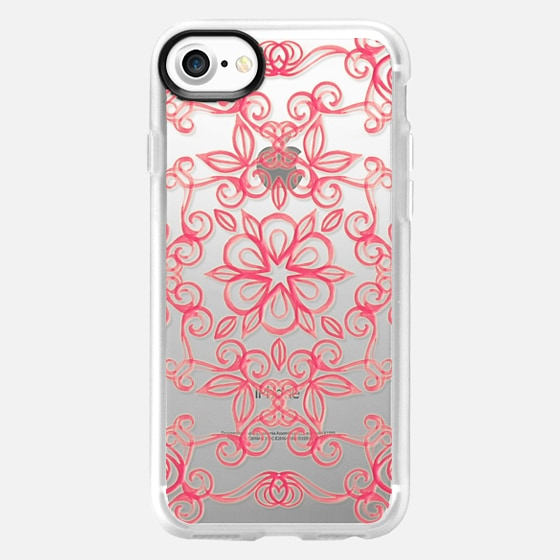 Painted Coral Floral on Crystal Transparent - Wallet Case
