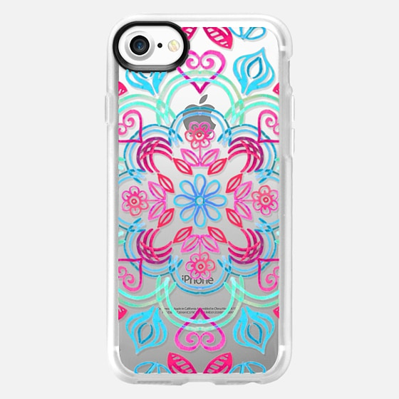Happy Folk Floral in Mint, Aqua & Pink on Transparent - Wallet Case