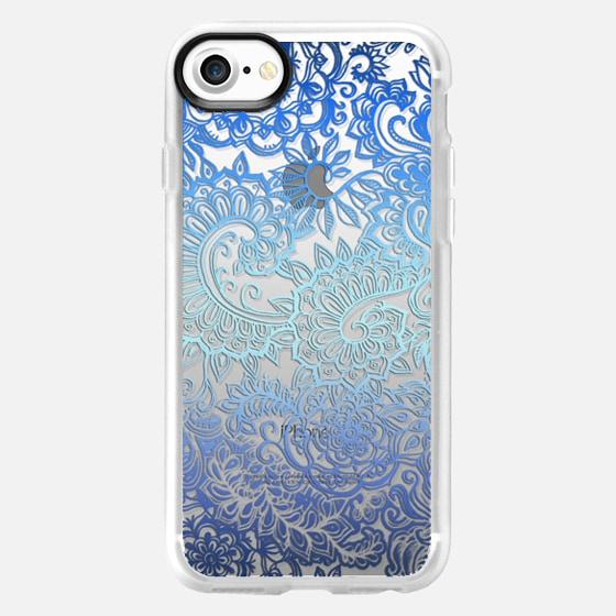 Ombre Lace Doodle in Ocean Blues on Transparent -