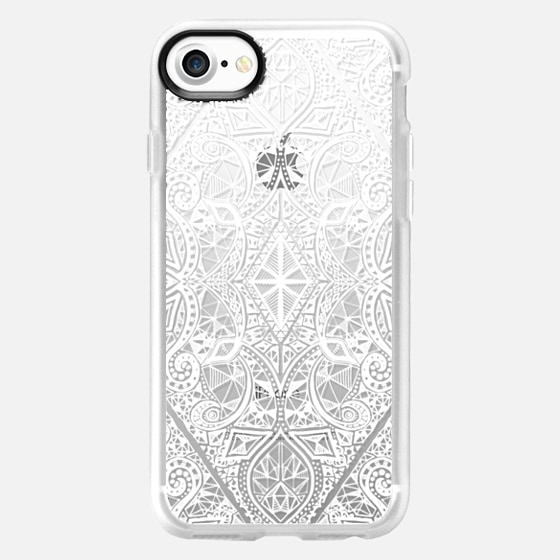 Crystal White Geometric Doodle Pattern on Transparent - Wallet Case