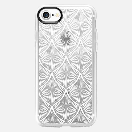 White Art Deco Lace on Crystal Transparent - Wallet Case