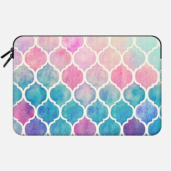 Rainbow Pastel Watercolor Moroccan Pattern - Macbook Sleeve