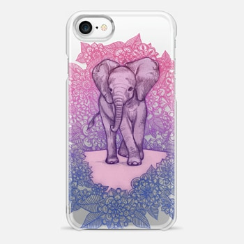 iPhone 7 Case Cute Baby Elephant in pink, purple & blue on transparent