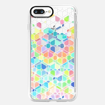 iPhone 7 Plus Case Rainbow Cubes and Diamonds on Transparent