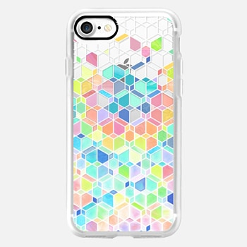 iPhone 7 ケース Rainbow Cubes and Diamonds on Transparent