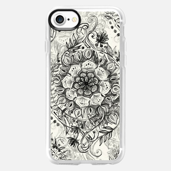 Messy Boho Floral in Charcoal and Cream (centered)  - Wallet Case