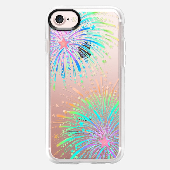 New Year's Radiant Rainbow Fireworks - transparent - Wallet Case