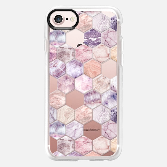 Rose Quartz and Amethyst Stone and Marble Hexagon Tiles transparent -