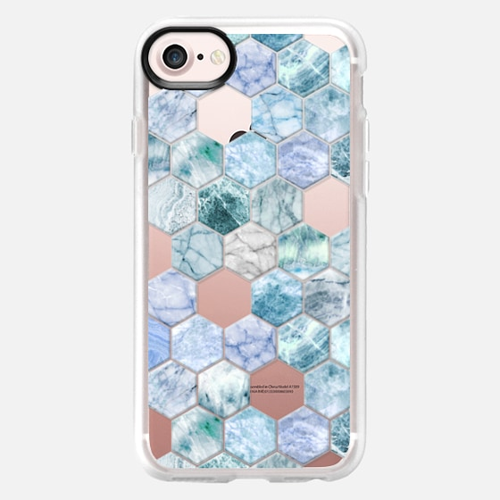 Ice Blue and Jade Stone and Marble Hexagon Tiles transparent -