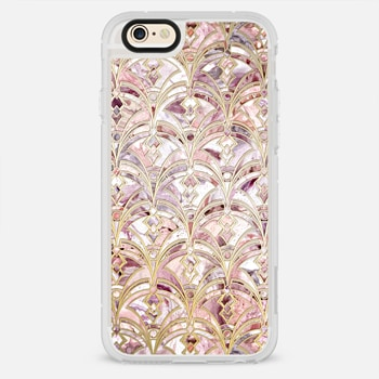 iPhone 6 Case Dusty Rose and Coral Art Deco Marbling Pattern