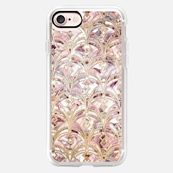 iPhone 7 ケース Dusty Rose and Coral Art Deco Marbling Pattern