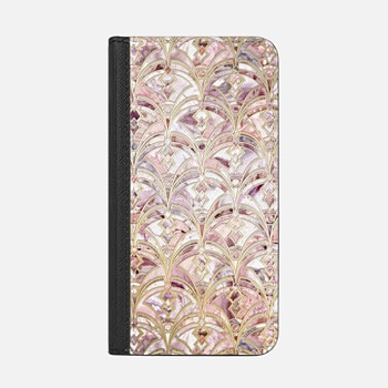 iPhone Wallet Case -  Dusty Rose and Coral Art Deco Marbling Pattern