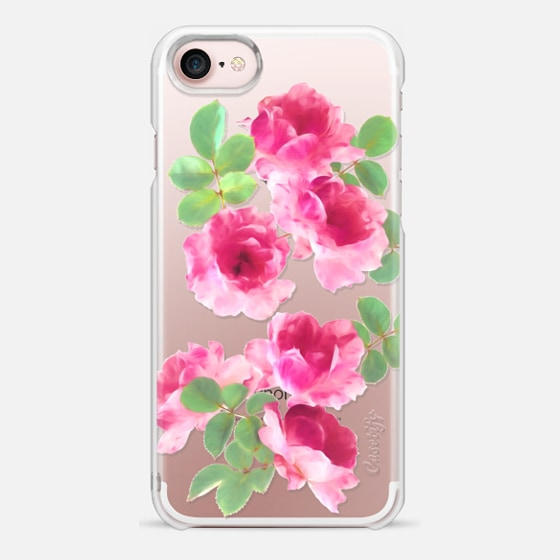 Raspberry Pink Painted Roses on clear - Snap Case