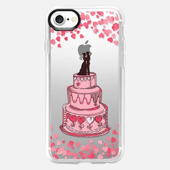 Cute Bridal Couple on Cake - Coral on transparent - Classic Grip Case