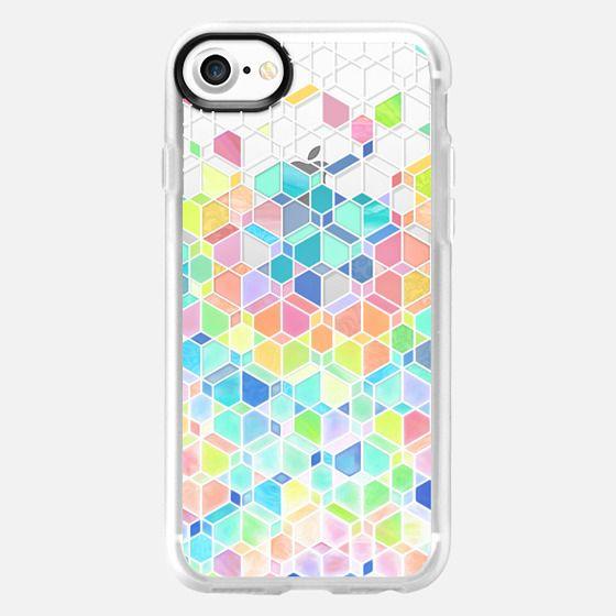Rainbow Cubes and Diamonds on Transparent -
