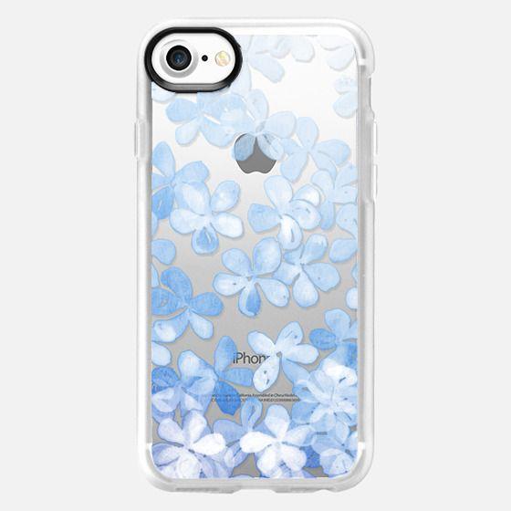 Plumbago Blossoms - pastel blue & white painted floral on transparent - Classic Grip Case