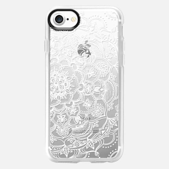 Fancy White Lace Mandala on crystal transparent - Classic Grip Case