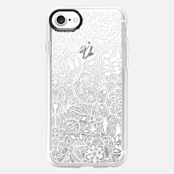 Frosty Floral - white hand drawn floral pattern on crystal transparent - Classic Grip Case