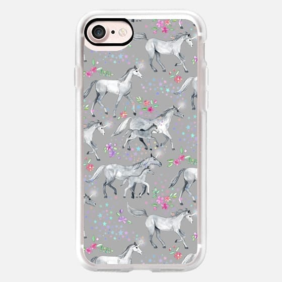 Unicorns and Stars on Soft Grey -