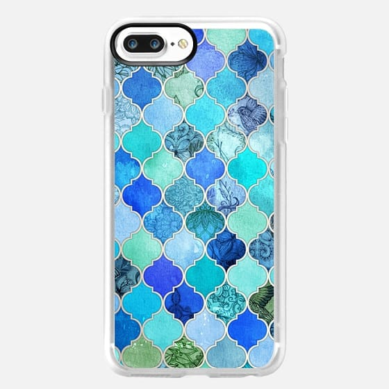 Cobalt Blue, Aqua & Silver Grey Decorative Moroccan Tile Pattern -