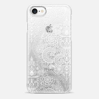 iPhone 7 Case Crystal White Vintage Lace on Transparent