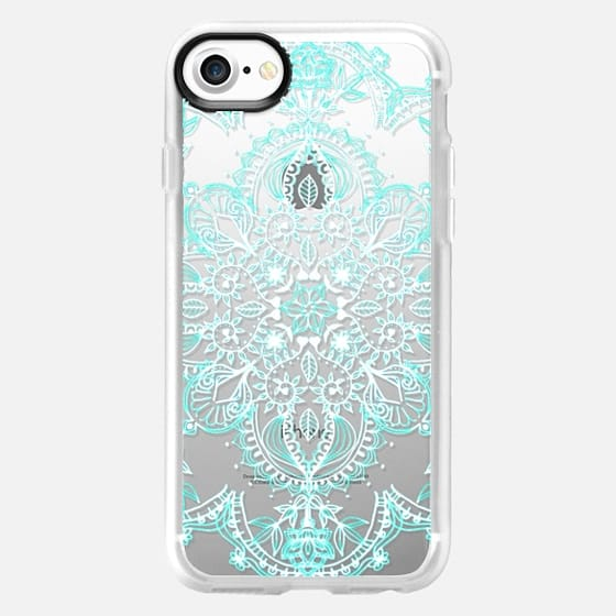 Aqua and White Lace Mandala - transparent - Classic Grip Case