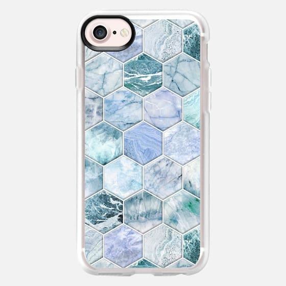Ice Blue and Jade Stone and Marble Hexagon Tiles large -