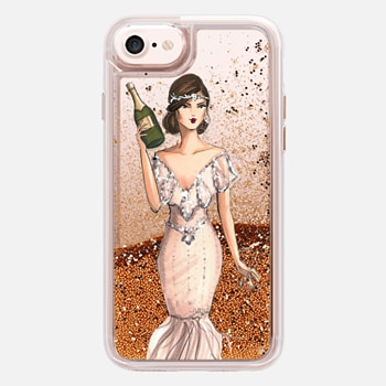 iPhone 7 ケース I'll Bring the Bubbly (Champagne Girl, Fashion Illustration Clear Case)