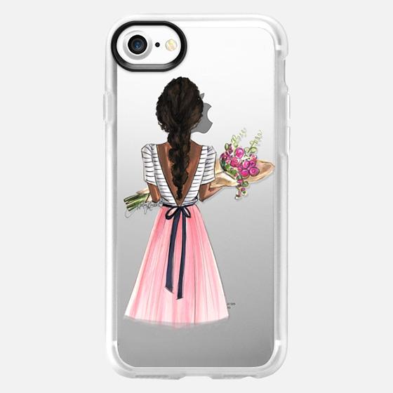 Bouquet (Darker Skin Option 1/4, Fashion Illustration Transparent Case) - Wallet Case